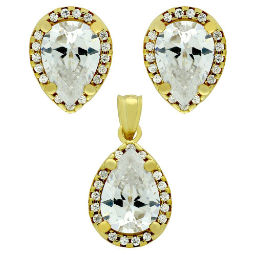 GOLD PLATED SET: 7X10MM PEAR SHAPE CZ EARRINGS AND PENDANT WITH CZ HALO