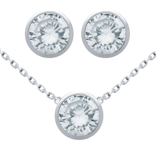 """RHODIUM PLATED SET: 7.5MM ROUND BEZEL SET CZ EARRINGS AND 16+2"""" NECKLACE"""