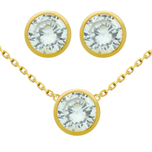 "GOLD PLATED SET: 7.5MM ROUND BEZEL SET CZ EARRINGS AND 16+2"" NECKLACE"