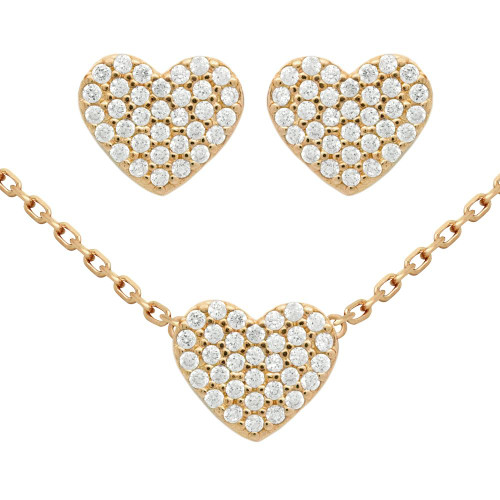 "ROSE GOLD PLATED SET: HEART SHAPED CZ PAVE EARRINGS AND 16+2"" NECKLACE"