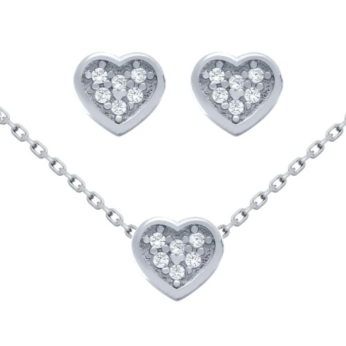 """RHODIUM PLATED SET: HEART SHAPED CZ CLUSTER EARRINGS AND 16+2"""" NECKLACE"""