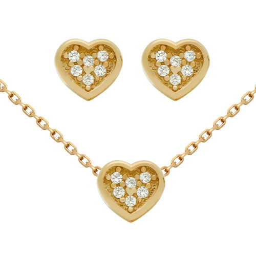 "ROSE GOLD PLATED SET: HEART SHAPED CZ CLUSTER EARRINGS AND 16+2"" NECKLACE"