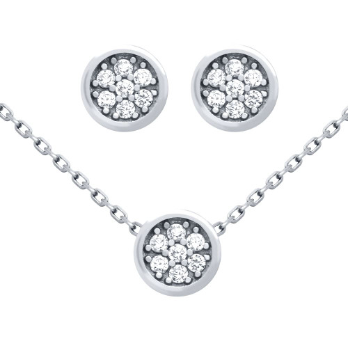 """RHODIUM PLATED SET: ROUND CZ CLUSTER EARRINGS AND 16+2"""" NECKLACE"""