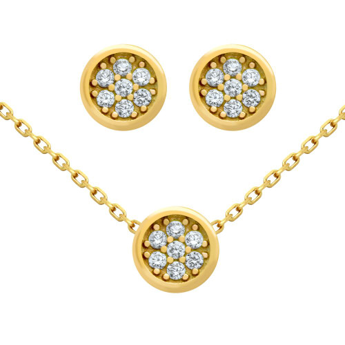 """GOLD PLATED SET: ROUND CZ CLUSTER EARRINGS AND 16+2"""" NECKLACE"""