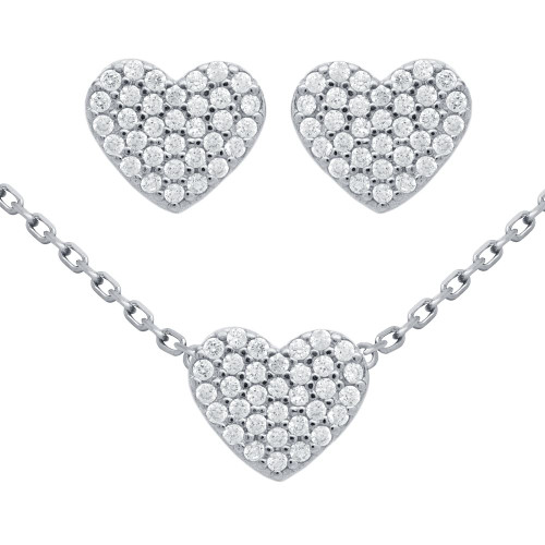 """RHODIUM PLATED SET: HEART SHAPED CZ PAVE EARRINGS AND 16+2"""" NECKLACE"""