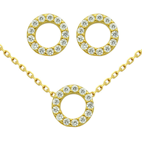 """GOLD PLATED SET: 7.5MM RING SHAPED CZ PAVE EARRINGS AND 16+2"""" NECKLACE"""