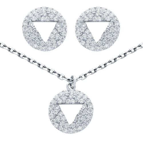 """RHODIUM PLATED SET: CUTOUT TRIANGLE ON CZ DISK STUD EARRINGS AND 16+2"""" NECKLACE"""