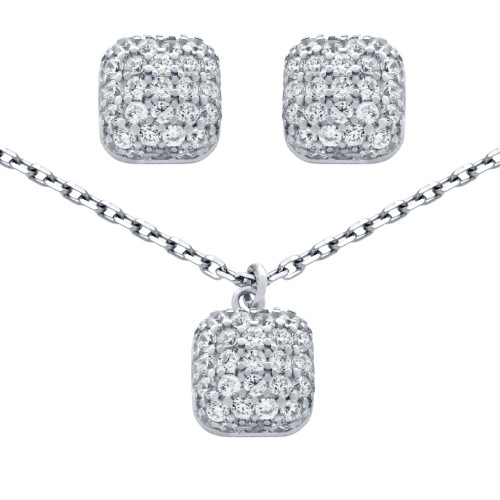 """RHODIUM PLATED SET: CUSHION-SHAPE CZ PAVE POST EARRINGS AND 16+2"""" NECKLACE"""