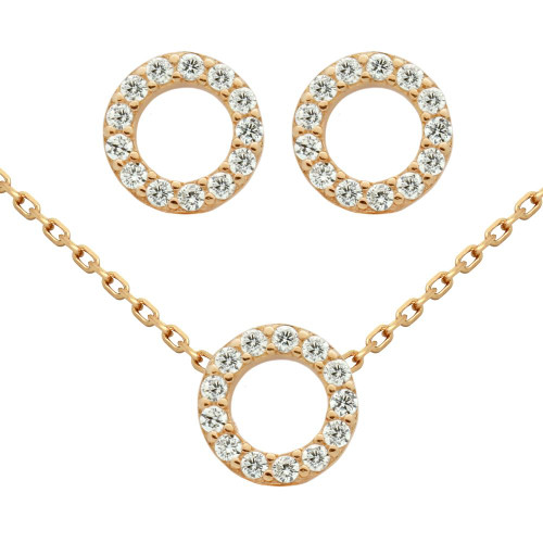 """ROSE GOLD PLATED SET: 7.5MM RING SHAPED CZ PAVE EARRINGS AND 16+2"""" NECKLACE"""