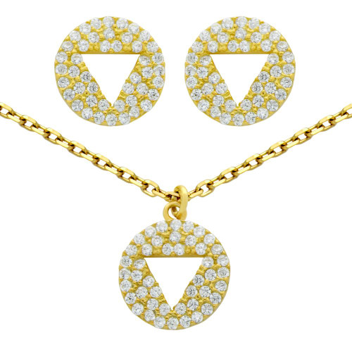"""GOLD PLATED SET: CUTOUT TRIANGLE ON CZ DISK STUD EARRINGS AND 16+2"""" NECKLACE"""