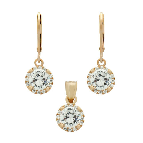 ROSE GOLD PLATED SET: 6.5MM ROUND CZ EARRINGS AND PENDANT WITH CZ HALO FISH HOOK DANGELING