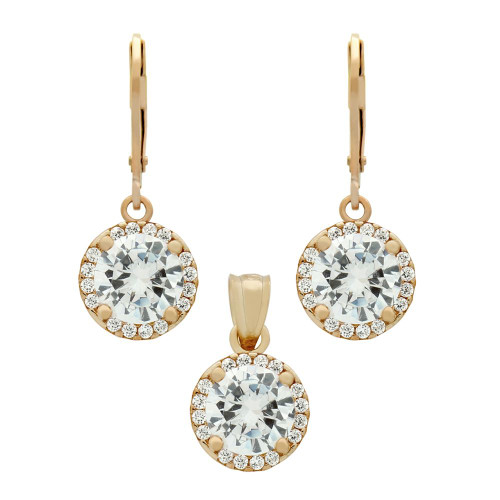 ROSE GOLD PLATED SET: 7.5MM ROUND CZ EARRINGS AND PENDANT WITH CZ HALO FISH HOOK DANGELING