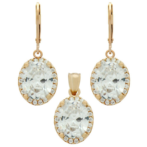 ROSE GOLD PLATED SET: 8X10MM OVAL CZ EARRINGS AND PENDANT WITH CZ HALO FISH HOOK DANGELING