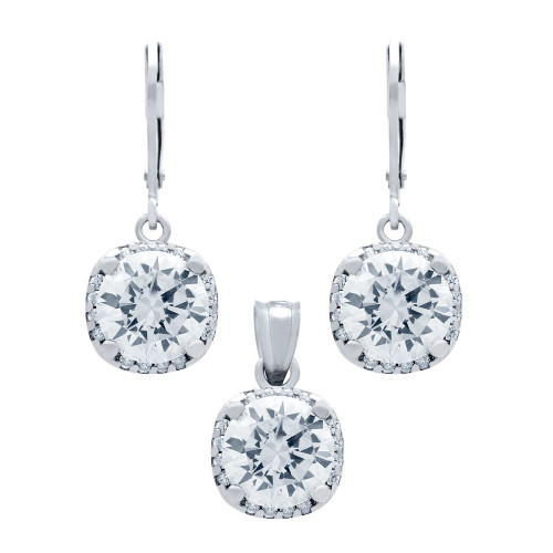 RHODIUM PLATED SET: 9MM ROUND CZ IN SQUARE DESIGN EARRINGS AND PENDANT, WITH CZ HALO