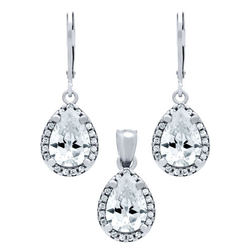 RHODIUM PLATED SET: 10MM TEARDROP CZ EARRINGS AND PENDANT, WITH CZ HALO