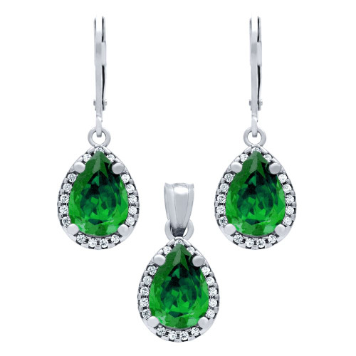 RHODIUM PLATED SET: 10MM TEARDROP GREEN CRYSTAL EARRINGS AND PENDANT, WITH CZ HALO
