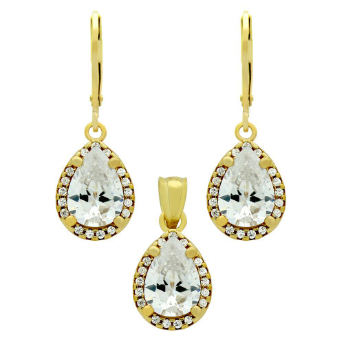 GOLD PLATED SET: 10MM TEARDROP CZ EARRINGS AND PENDANT, WITH CZ HALO