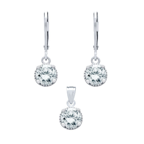 RHODIUM PLATED SET: 6.5MM ROUND CZ EARRINGS AND PENDANT