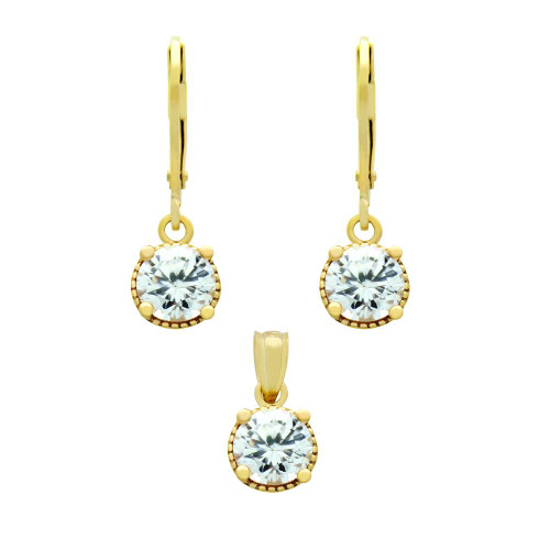 GOLD PLATED SET: 6.5MM ROUND CZ EARRINGS AND PENDANT