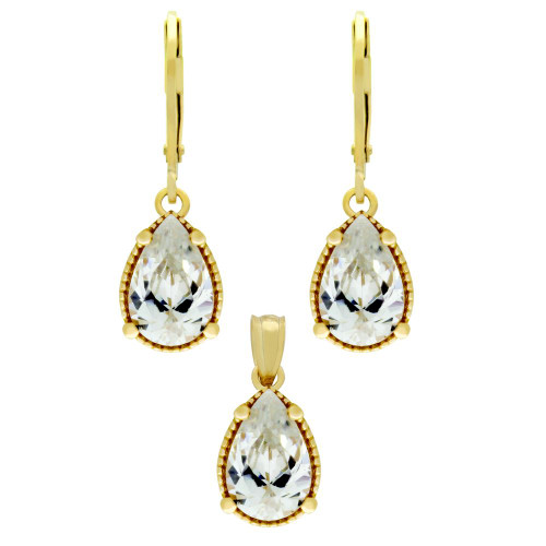 GOLD PLATED SET: 9MM TEARDROP CZ EARRINGS AND PENDANT