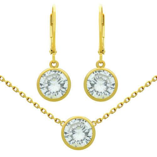 """GOLD PLATED SET: 7.5MM ROUND BEZEL-SET CZ EARRINGS AND 16+2"""" NECKLACE"""