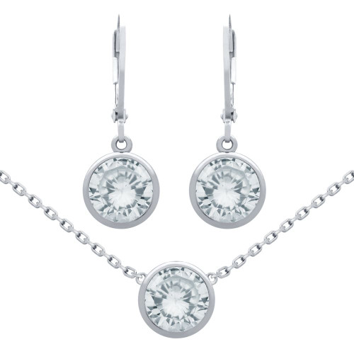 "RHODIUM PLATED SET: 7.5MM ROUND BEZEL-SET CZ EARRINGS AND 16+2"" NECKLACE"
