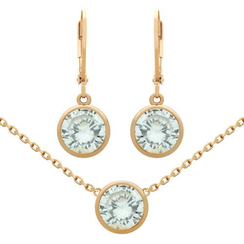 """ROSE GOLD PLATED SET: 7.5MM ROUND BEZEL-SET CZ EARRINGS AND 16+2"""" NECKLACE"""