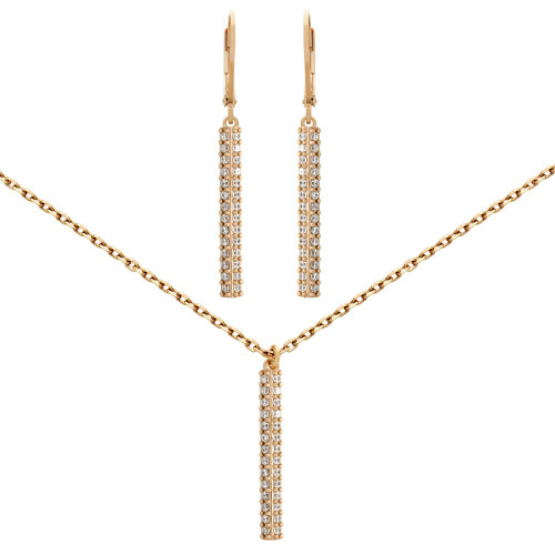 """ROSE GOLD PLATED SET: 25MM LONG DOUBLE-ROW CZ PAVE BAR EARRINGS AND 16+2"""" NECKLACE"""