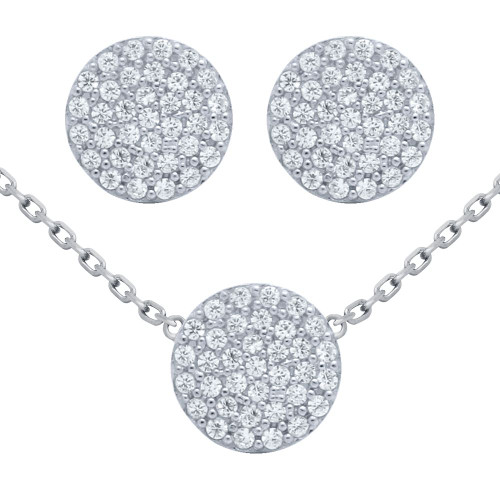 "RHODIUM PLATED SET: 9MM DISK CZ PAVE EARRINGS AND 16+2"" NECKLACE"