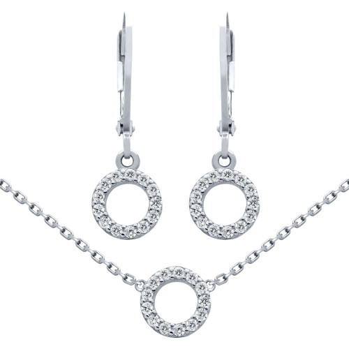 "RHODIUM PLATED SET: 7MM CZ ETERNITY CIRCLE EARRINGS AND 16+2"" NECKLACE"