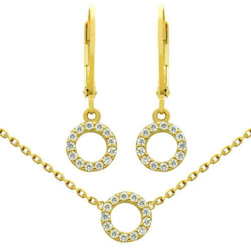 "GOLD PLATED SET: 7MM CZ ETERNITY CIRCLE EARRINGS AND 16+2"" NECKLACE"