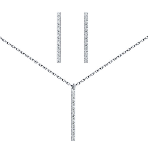 "RHODIUM PLATED SET: 23MM LONG CZ PAVE BAR EARRINGS AND 16+2"" NECKLACE"