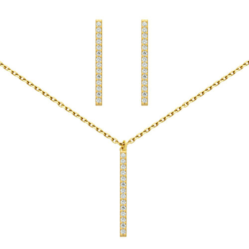 """GOLD PLATED SET: 23MM LONG CZ PAVE BAR EARRINGS AND 16+2"""" NECKLACE"""