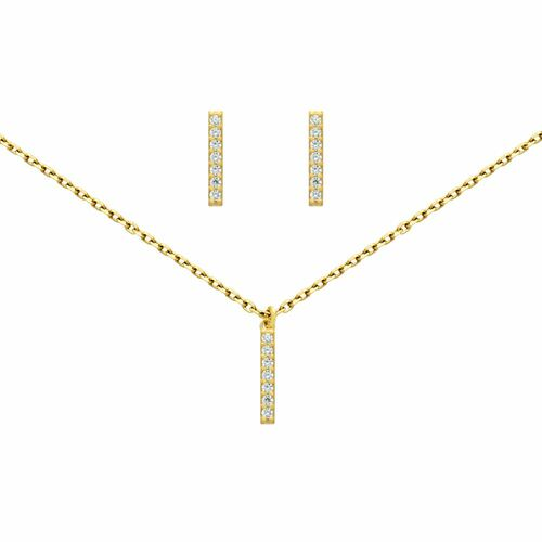 """GOLD PLATED SET: 13MM LONG CZ PAVE BAR EARRINGS AND 16+2"""" NECKLACE"""