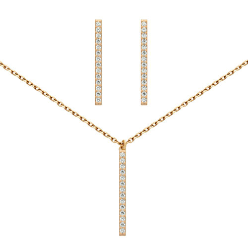 """ROSE GOLD PLATED SET: 23MM LONG CZ PAVE BAR EARRINGS AND 16+2"""" NECKLACE"""