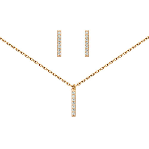"""ROSE GOLD PLATED SET: 13MM LONG CZ PAVE BAR EARRINGS AND 16+2"""" NECKLACE"""
