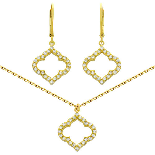 "GOLD PLATED SET: CZ PAVE CUTOUT ROYAL CLOVER EARRINGS AND 16+2"" NECKLACE"