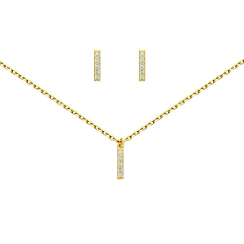 "GOLD PLATED SET: 10MM LONG CZ PAVE BAR EARRINGS AND 16+2"" NECKLACE"