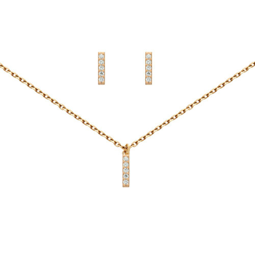 """ROSE GOLD PLATED SET: 10MM LONG CZ PAVE BAR EARRINGS AND 16+2"""" NECKLACE"""