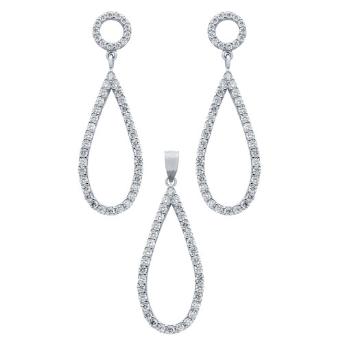 RHODIUM PLATED SET: DROP SHAPED OUTLINE CZ PAVE EARRINGS AND PENDANT