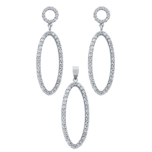 RHODIUM PLATED SET: OVAL SHAPED OUTLINE CZ PAVE EARRINGS AND PENDANT