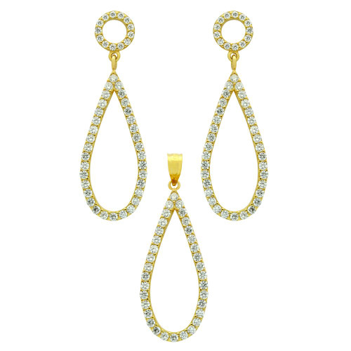GOLD PLATED SET: DROP SHAPED OUTLINE CZ PAVE EARRINGS AND PENDANT