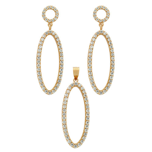 ROSE GOLD PLATED SET: OVAL SHAPED OUTLINE CZ PAVE EARRINGS AND PENDANT