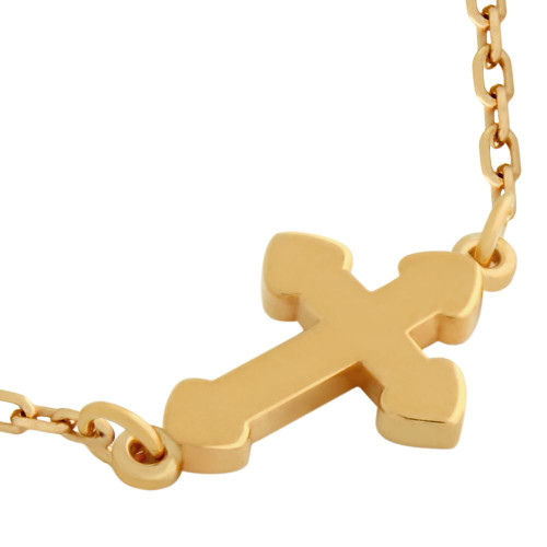 "ROSE GOLD PLATED SMALL SHINY CROSS NECKLACE 16"" + 2"""