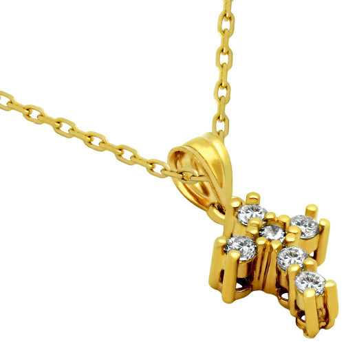 "GOLD PLATED SMALL CZ AND STERLING SILVER CROSS NECKLACE 16""+1"""