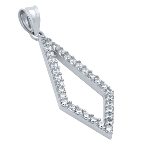 RHODIUM PLATED KITE OUTLINE CZ PAVE PENDANT