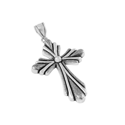 STERLING SILVER 36MM STYLIZED CROSS PENDANT