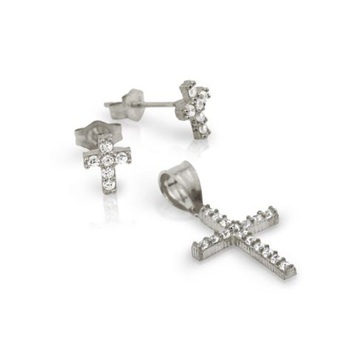 RHODIUM PLATED PAVE CZ CROSS SET PENDANT AND STUD EARRINGS