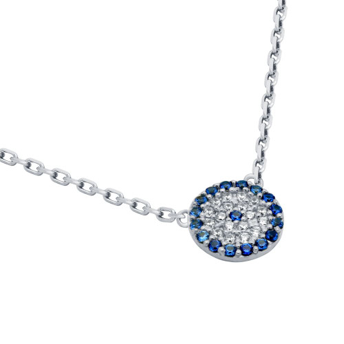 "RHODIUM PLATED BLUE EYE CZ PAVE NECKLACE 16"" + 2"""