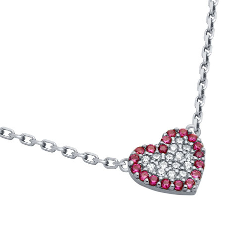 """RHODIUM PLATED CZ HEART WITH PINK OUTLINE NECKLACE 16"""" + 2"""""""